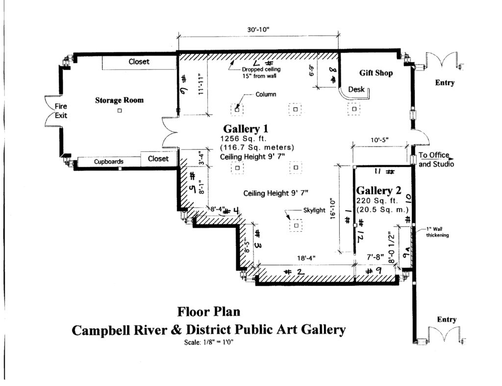 gallery floorplan with wall numbers