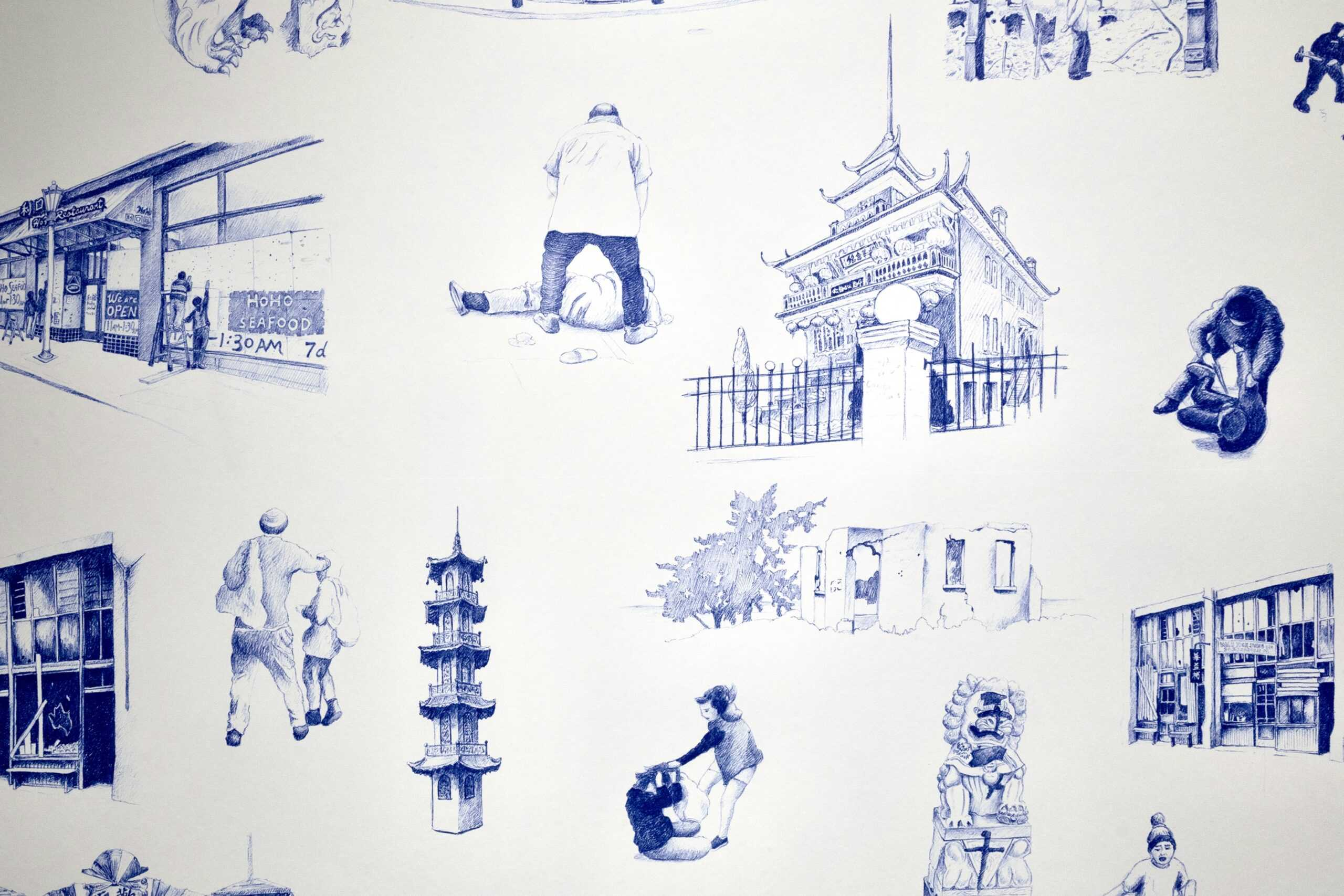 """Details from Karen Tam's """"Ruinscape"""" wallpaper. Blue and white drawings of various places and (violent) interactions in Chinatown."""